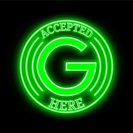 Gulden (NLG) green  neon cryptocurrency symbol in round frame with text Accepted here. Vector illustration isolated on black background Illustration