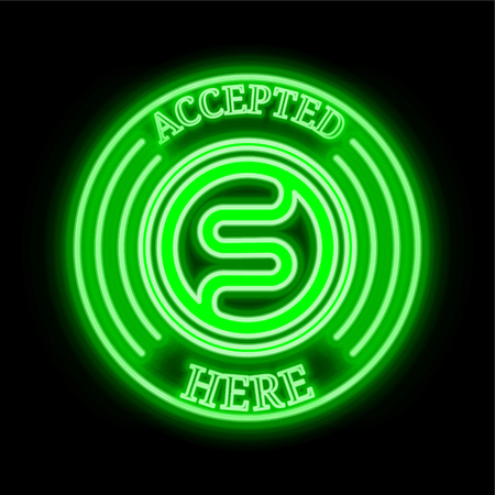 """Steneum Coin (STN) green neon cryptocurrency symbol in round frame with text """"Accepted here"""". Vector illustration isolated on black background"""