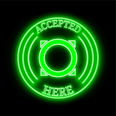 Omni (OMNI) green  neon cryptocurrency symbol in round frame with text Accepted here. Vector illustration isolated on black background