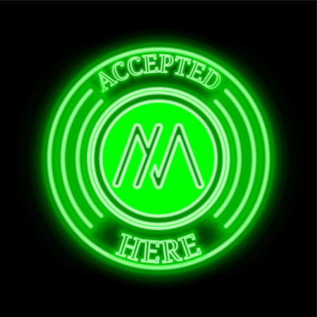 MSD (MSD) green  neon cryptocurrency symbol in round frame with text Accepted here. Vector illustration isolated on black background