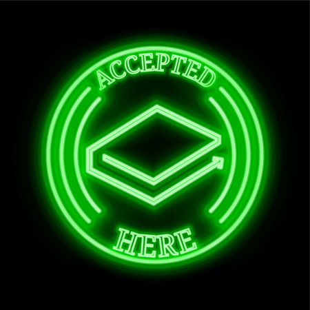 LBRY Credits (LBC) green  neon cryptocurrency symbol in round frame with text