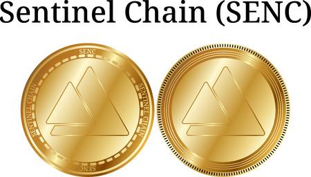 Set of physical golden coin Sentinel Chain (SENC) on white backdrop illustration. Illustration