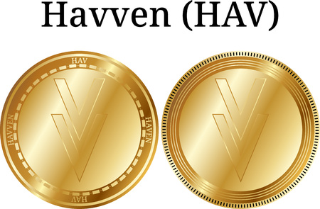 Set of physical golden coin Havven (HAV) on white backdrop illustration.