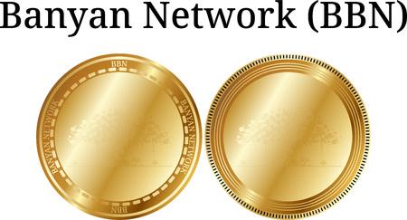 Ensemble de pièce d'or physique Banyan Network (BBN) sur fond blanc illustration. Banque d'images - 98846898