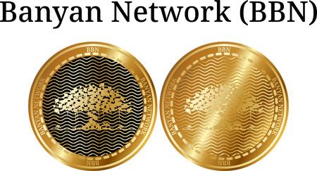 Ensemble de pièce d'or physique Banyan Network (BBN) sur fond blanc illustration. Banque d'images - 98855208