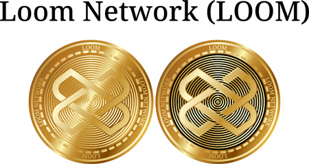 Set of physical golden coin Loom Network (LOOM), digital cryptocurrency. Loom Network (LOOM) icon set. Vector illustration isolated on white background.