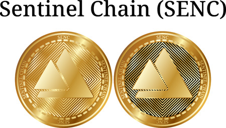 Set of physical golden coin Sentinel Chain (SENC), digital cryptocurrency. Sentinel Chain (SENC) icon set. Vector illustration isolated on white background.
