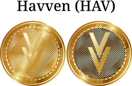 Set of physical golden coin Havven (HAV), digital cryptocurrency. Havven (HAV) icon set. Vector illustration isolated on white background. Çizim