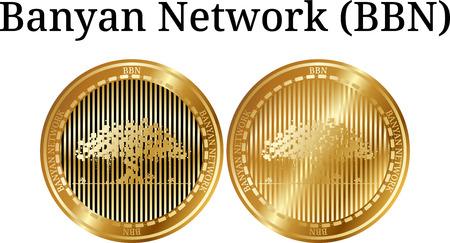 Ensemble de pièce d'or physique Banyan Network (BBN), crypto-monnaie numérique. Jeu d'icônes de réseau Banyan (BBN). Illustration vectorielle isolée sur fond blanc. Banque d'images - 98861471