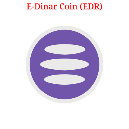 Vector E-Dinar Coin (EDR) digital cryptocurrency logo. E-Dinar Coin (EDR) icon. Vector illustration isolated on white background.