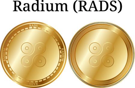 Set of physical golden coin Radium (RADS), digital cryptocurrency. Radium (RADS) icon set. Vector illustration isolated on white background. Illustration