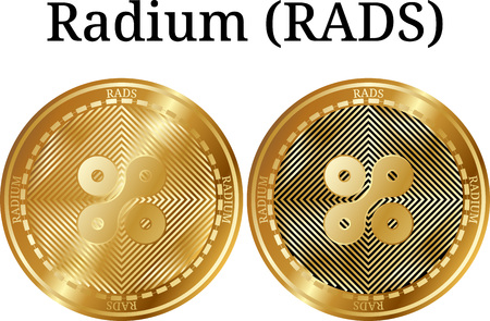 Set of physical golden coin Radium (RADS), digital cryptocurrency. Radium (RADS) icon set. Vector illustration isolated on white background. Illustration