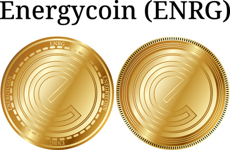Set of physical golden coin Energycoin (ENRG), digital cryptocurrency. Energycoin (ENRG) icon set. Vector illustration isolated on white background.