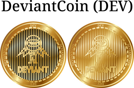 Set of physical golden coin DeviantCoin (DEV), digital cryptocurrency. DeviantCoin (DEV) icon set. Vector illustration isolated on white background. Çizim