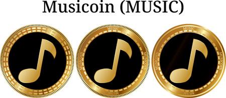 Conjunto de moneda de oro física Musicoin (MUSIC), criptomoneda digital. Conjunto de iconos de musicoína (MÚSICA). Una ilustración vectorial aislado sobre fondo blanco. Ilustración de vector