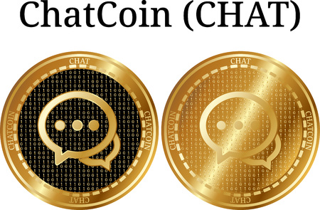 Conjunto de moneda de oro física ChatCoin (CHAT), criptomoneda digital. Conjunto de iconos ChatCoin (CHAT). Una ilustración vectorial aislado sobre fondo blanco.