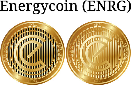 Set of physical golden coin Energycoin (ENRG), digital cryptocurrency. Energycoin (ENRG) icon set. A Vector illustration isolated on white background.