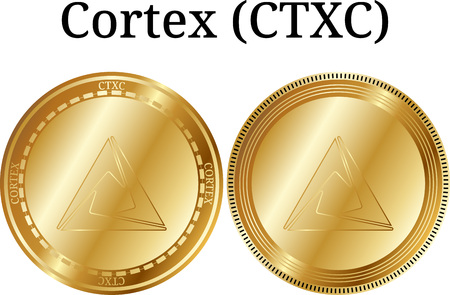 Set of physical golden coin Cortex (CTXC), digital cryptocurrency. Cortex (CTXC) icon set. Vector illustration isolated on white background.