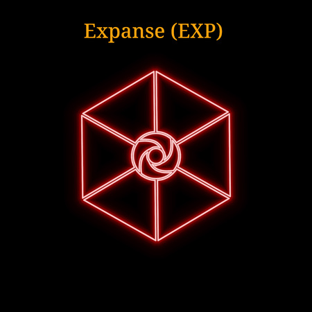 Red neon Expanse (EXP) cryptocurrency symbol. A Vector illustration isolated on black background