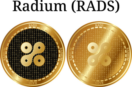 Set of physical golden coin Radium (RADS), digital cryptocurrency. Radium (RADS) icon set. A Vector illustration isolated on white background.