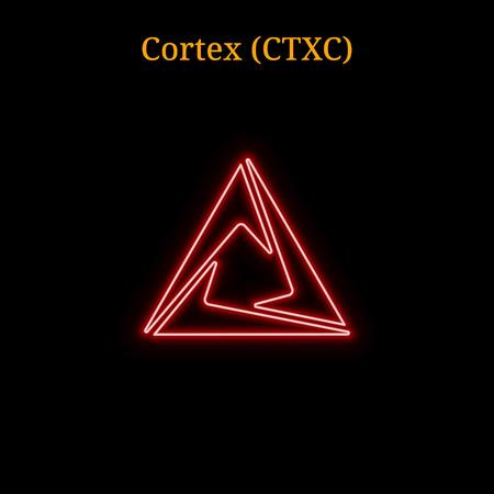 Red neon Cortex  symbol vector illustration