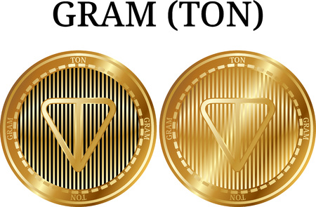 Set of physical golden coin GRAM (TON), digital cryptocurrency. GRAM (TON) icon set. Vector illustration isolated on white background.