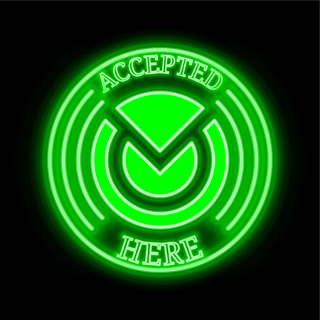Monero Original (XMO) green  neon cryptocurrency symbol in round frame with text Accepted here
