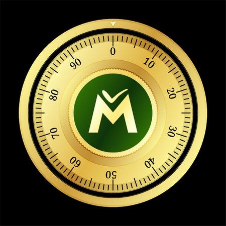 MonetaryUnit (MUE) cryptocurrency safe lock. Eps10 vector illustration isolated on black background.