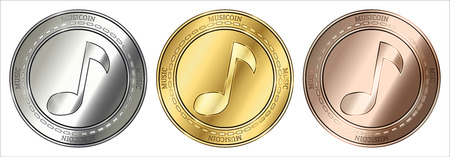Gold, silver and bronze musicoin (music) cryptocurrency coin set.