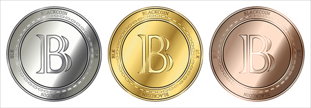 Gold, silver and bronze BlackCoin (BLK) cryptocurrency coin. BlackCoin (BLK) coin set.