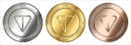 Gold, silver and bronze GRAM (TON) cryptocurrency coin. GRAM (TON) coin set. Illustration