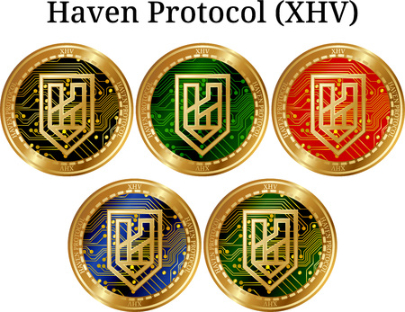 Set of physical golden coin Haven Protocol (XHV), digital cryptocurrency. Haven Protocol (XHV) icon set. Banque d'images - 100427586