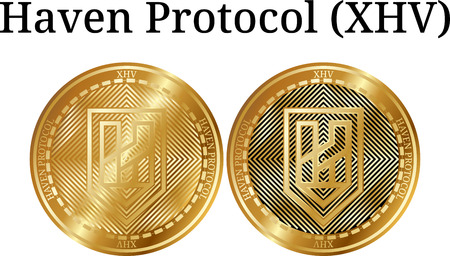 Set of physical golden coin Haven Protocol (XHV), digital cryptocurrency. Haven Protocol (XHV) icon set. Banque d'images - 100426818