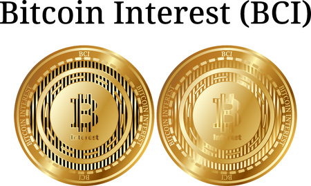 Set of physical golden coin Bitcoin Interest (BCI), digital cryptocurrency. Bitcoin Interest (BCI) icon set. Vector illustration isolated on white background. 向量圖像