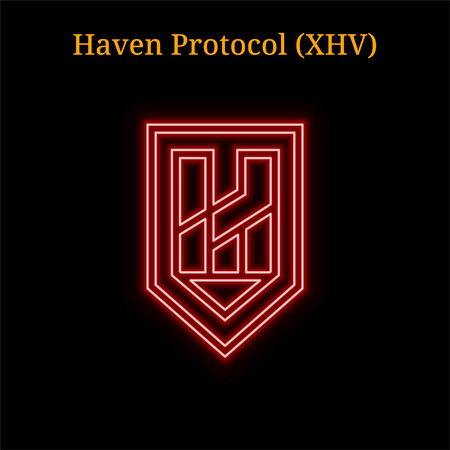 Red neon Haven Protocol (XHV) cryptocurrency symbol. Vector illustration eps10 isolated on black background