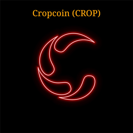 Red neon Cropcoin (CROP) cryptocurrency symbol. Vector illustration eps10 isolated on black background