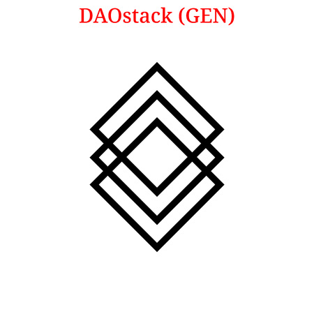 Vector DAOstack (GEN) digital cryptocurrency logo. DAOstack (GEN) icon. Vector illustration isolated on white background.