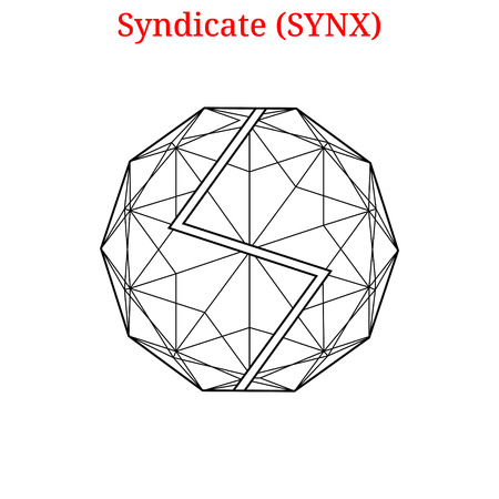 Vector Syndicate (SYNX) digital cryptocurrency logo. Syndicate (SYNX) icon. Vector illustration isolated on white background.