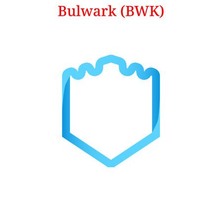 Vector Bulwark (BWK) digital cryptocurrency logo. Bulwark (BWK) icon. Vector illustration isolated on white background.