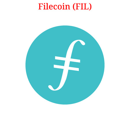 Vector Filecoin (FIL) digital cryptocurrency logo. Filecoin (FIL) icon. Vector illustration isolated on white background.