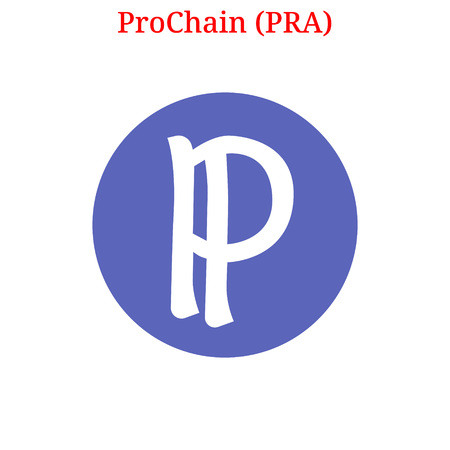 Vector ProChain (PRA) digital cryptocurrency logo. ProChain (PRA) icon. Vector illustration isolated on white background. Ilustração