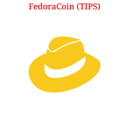 Vector FedoraCoin (TIPS) digital cryptocurrency logo. FedoraCoin (TIPS) icon. Vector illustration isolated on white background.