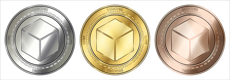 Gold, silver and bronze DigiCube (CUBE) cryptocurrency coin. DigiCube (CUBE) coin set. Stock Illustratie