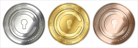 Gold, silver and bronze Civic (CVC) cryptocurrency coin. Civic (CVC) coin set.