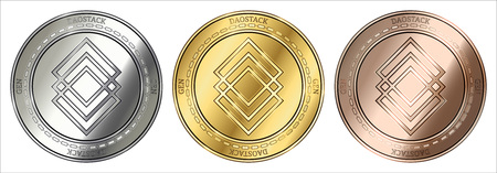 Gold, silver and bronze DAOstack (GEN) cryptocurrency coin. DAOstack (GEN) coin set.