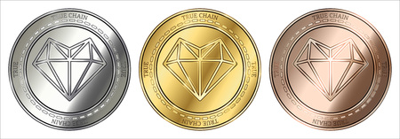 Gold, silver and bronze True Chain (TRUE) cryptocurrency coin. True Chain (TRUE) coin set.