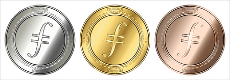 Gold, silver and bronze Filecoin (FIL) cryptocurrency coin. Filecoin (FIL) coin set.