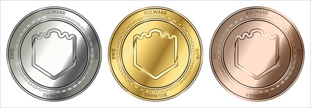 Gold, silver and bronze Bulwark (BWK) cryptocurrency coin. Bulwark (BWK) coin set.