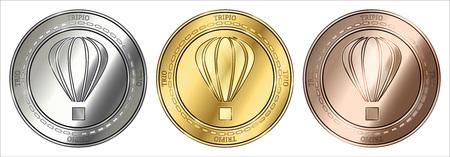 Gold, silver and bronze Tripio (TRIO) cryptocurrency coin. Tripio (TRIO) coin set. Illustration