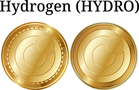 Set of physical golden coin Hydrogen (HYDRO), digital cryptocurrency. Hydrogen (HYDRO) icon set. Vector illustration isolated on white background.